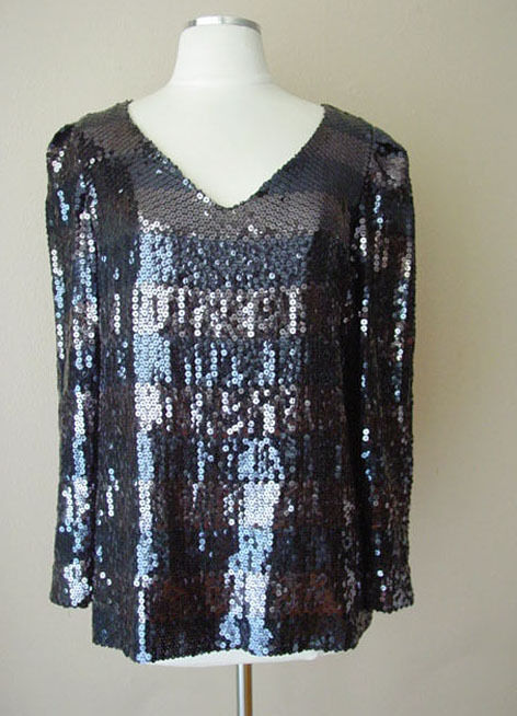 VINTAGE ALBERT NIPON SEQUINS LINED EVENING BLOUSE SHIRT TOP