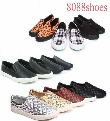 Unisex Causal Simple Flat Heel Slip On Round Toe sneaker Shoes Size 5.5 - 11 NEW