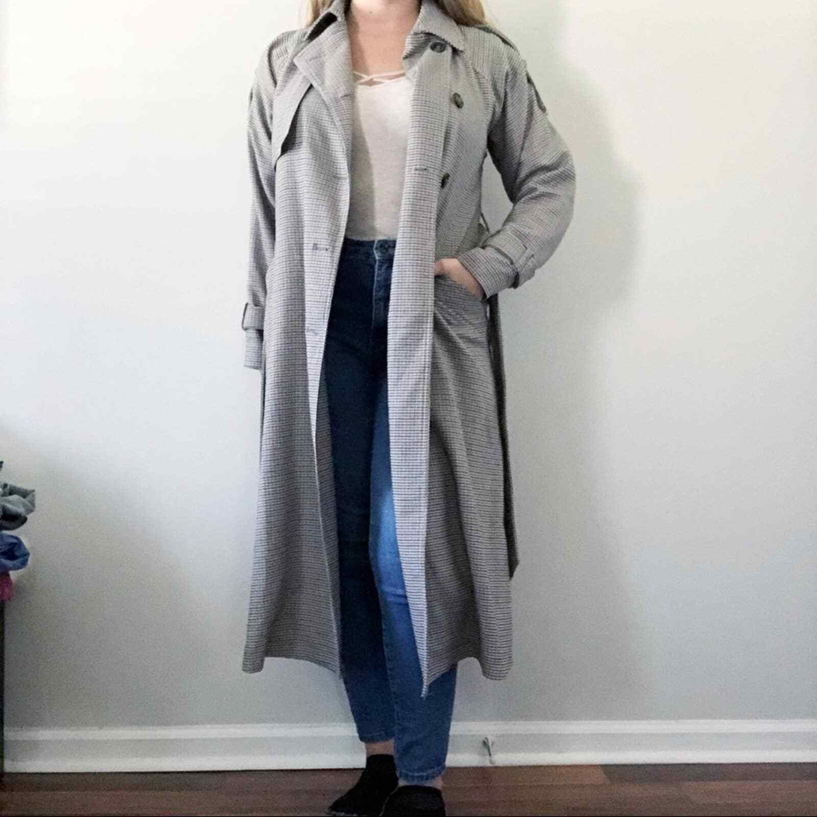 ASOS Tan Gray Houndstooth Long Trench Coat Size 0