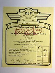 Dallas Texas 1980's Rock Band Warlock & Talon Band DLP Rehearsals Live Flyer