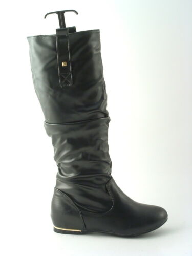 Girls Ladies Black Boot Mid Calf Inside Wedge Faux Leather Grip Sole Sizes 4-8