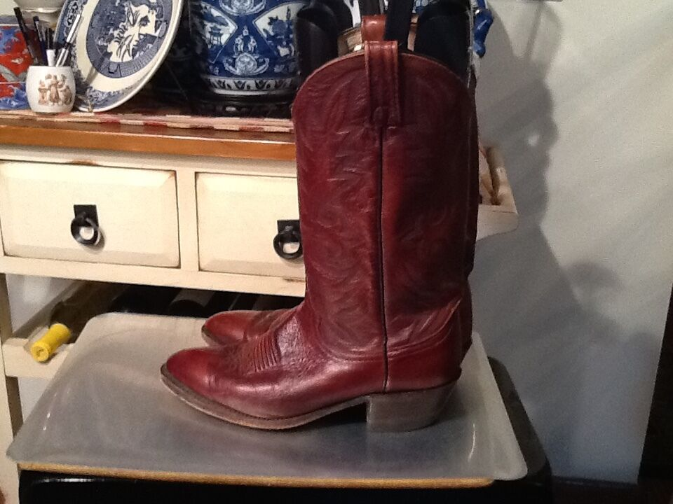 VintageDan Post Brown Soft Leather Cowboy Western Boots Size 8.5 D Style 16781