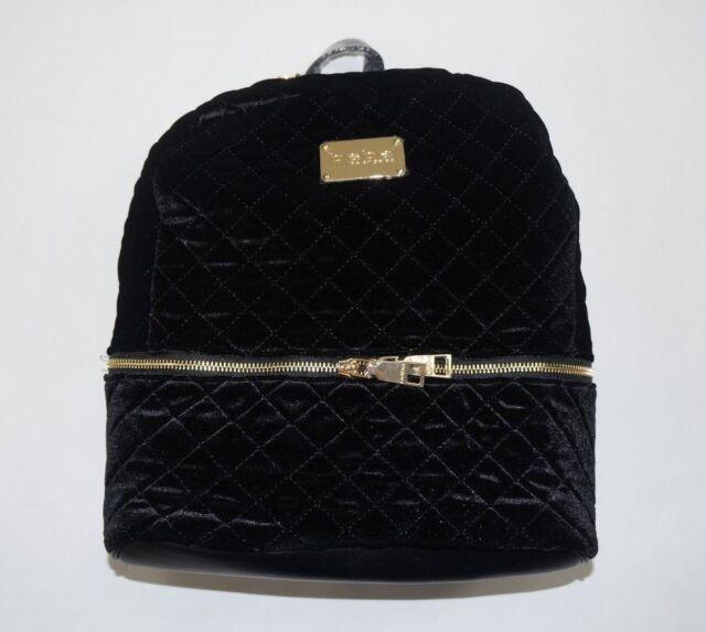 BEBE Black Quilted Danielle Velvet Large Backpack
