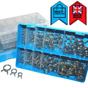 Self-Clamping-Double-Wire-Spring-Clips-Fuel-Air-Water-Clamps-Assorted-Box-Sets