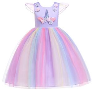 f6a14481f9be8 2019 Girls Kids Fancy Tutu Dress Up Unicorn Rainbow Cosplay Costume ...