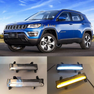 LED-Daytime-Running-Lamp-Yellow-Turn-Signals-Light-For-JEEP-Compass-2017-2018
