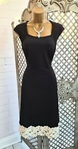 Pepperberry 💋Black Stretch Jersey Lace Crochet Hem Fit & Flare Dress UK 10