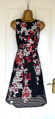 ~NEEVA~ Black Floral Mesh Skater Bodycon Evening Summer Party Dress 8 10 12 14