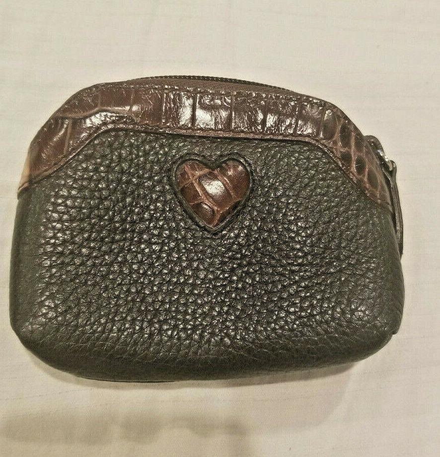 Brighton Small Coin Purse Black Brown pebbled Leather Heart Zipper