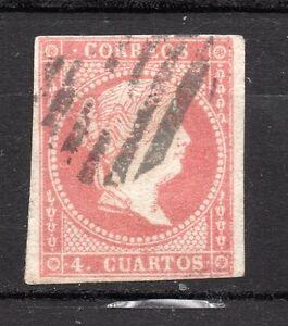 Espana-1856-4-Cuartos-Isabel-II-Edifil-48-papel-blanco-usado