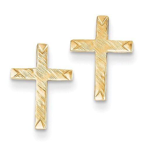 14K Yellow gold Brushed Finish Cross Earrings  0.51 Inch