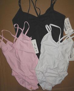 NWT Double Strap Camisole Leotard Ballet Dance Black, Lt Pink or White Adlt/Chld
