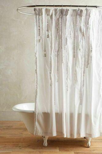 Anthropologie Draped Wisteria Cotton Ruffle White Shower Curtain 72 x 72 Shabby