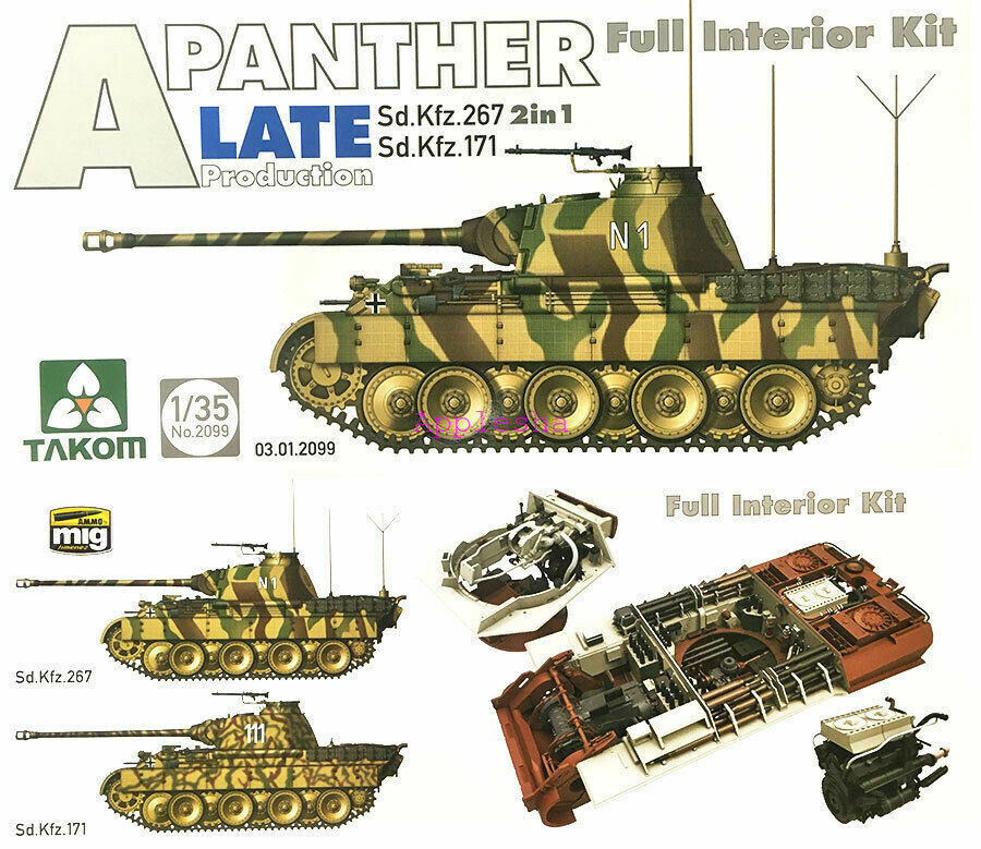 TAKOM 2099 1 35 Panther Ausf.A (SdKfz.171) Late Production [Full Interior Kit]