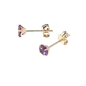 ac1719986 9ct Yellow Gold 5mm real Amethyst stone stud earrings / studs / Gift ...