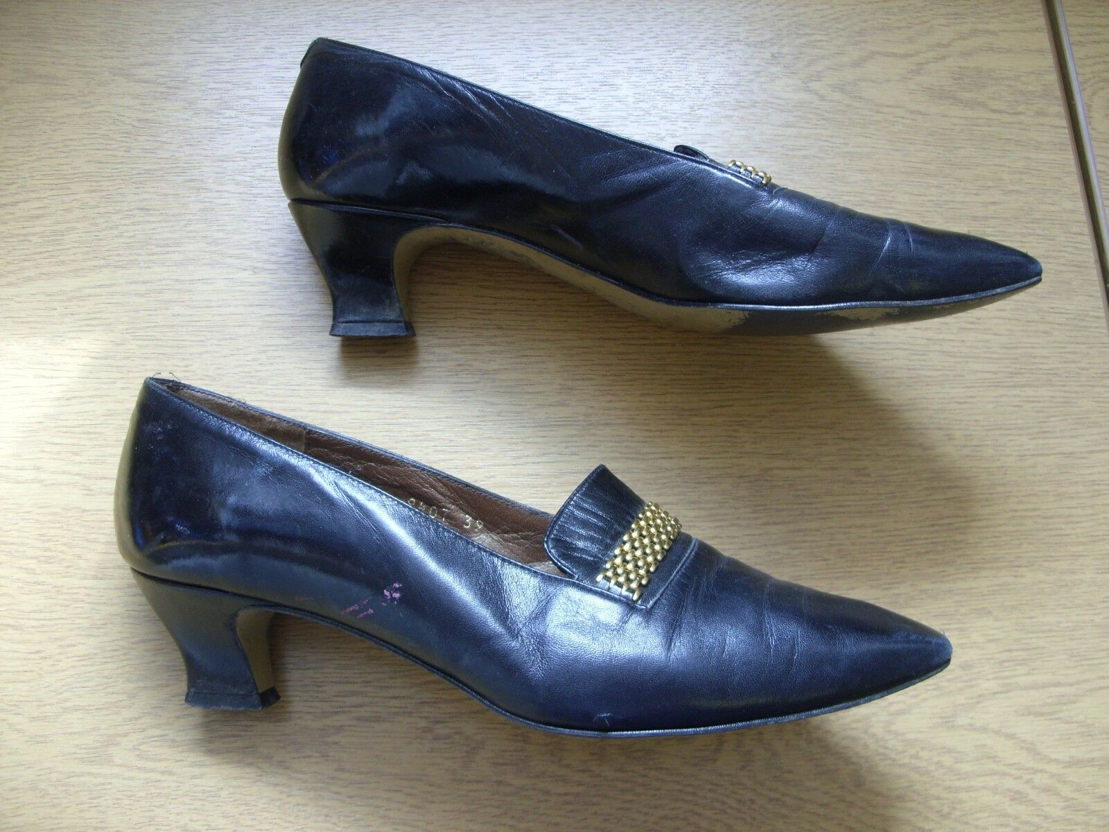 Ladies shoes Rombah Wallace black black black leather courts UK 6 EU 39, handmade, used 3263 468894