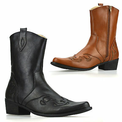 Mens New Cuban Heel Western Style Zip Up Ankle Cowboy Biker Boots Shoes Size