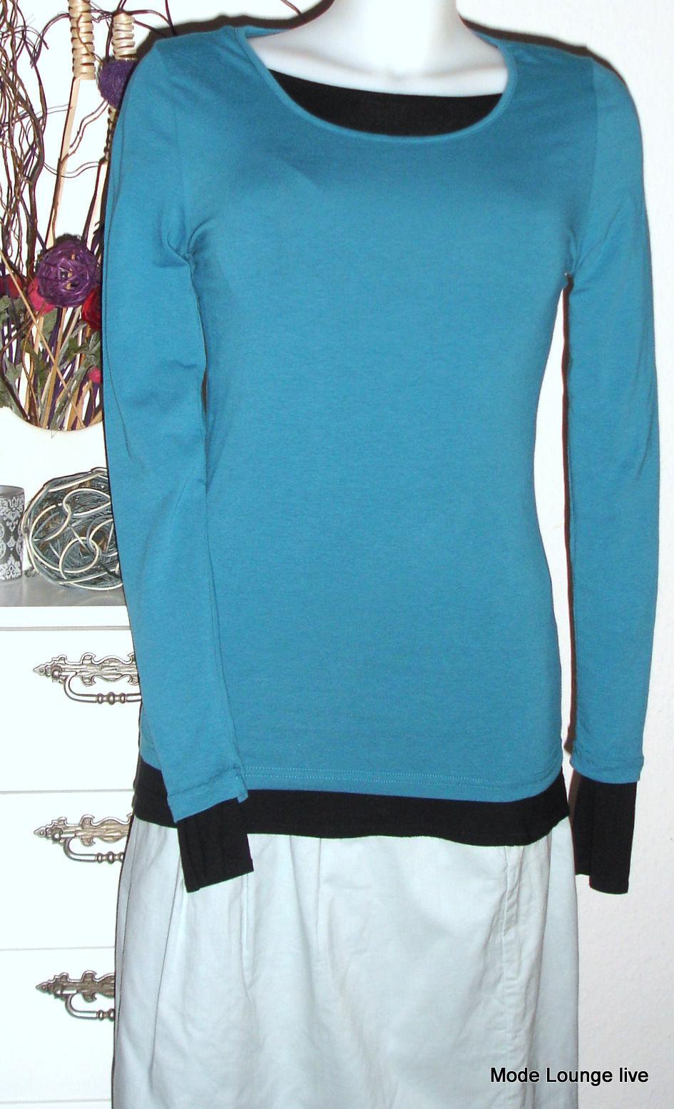 Noa Maglietta Basic Jersey Elasticizzato Cotone Foglia di Tè blue Turchese