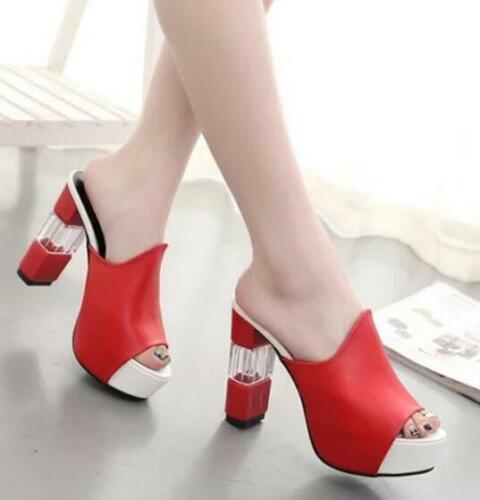 Women Peep Toe Mules Ladies Clear High Block Heels Sandals Platform Shoes Size