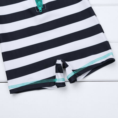 Baby Toddler Boys Zippered Swimsuit Swimwear Striped Bathing Swimming Suit Beach