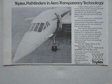 8/1972 PUB TRIPLEX SAFETY GLASS AVIATION CONCORDE SUPERSONIC ORIGINAL AD