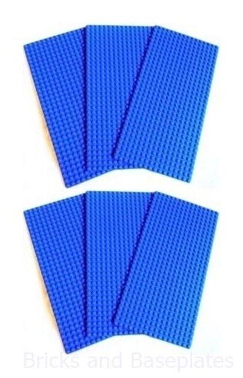 LEGO 6 x blueE BASEPLATES 16x32 PINS Dimensions 12.8cm x 25.6cm x 0.3 - NEW