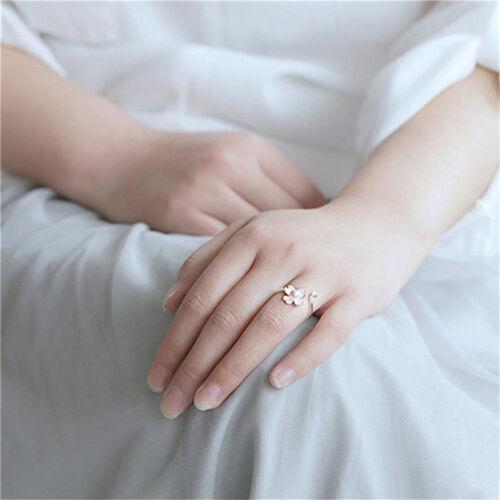 Ladies Cherry Blossom Flower Adjustable Ring Imitation Pearl Ring 8C