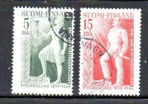 Finland-Sc-283-84-1949-Labour-Movement-stamp-set-used-Free-Shipping