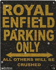 ROYAL ENFIELD PARKING METAL SIGN RUSTIC VINTAGE STYLE 8x10in 20x25cm garage