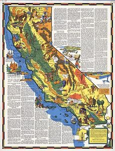 1938-CALIFORNIA-state-pictorial-map-history-folklore-whimsical-POSTER-Aitchison
