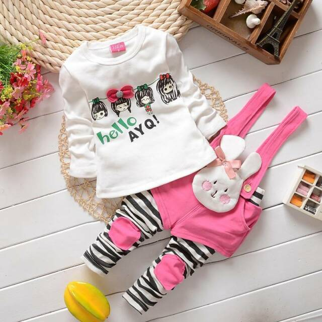 """2pcs kids Girls tops+rompers Set Outfits spring autumn clothing set """"bunny"""" 1-5T"""