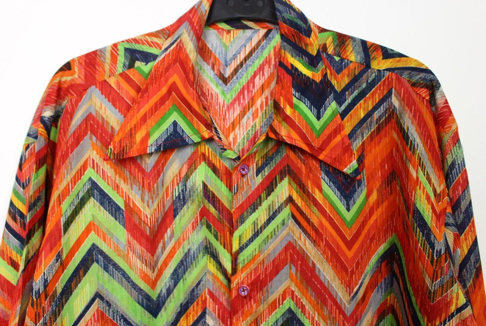 VINTAGE Da Uomo 60s 70s stile ARCOBALENO DISCOTECA PSICHEDELICHE Stag Festival SLIM FIT shirt M