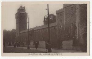 Cardiff-Castle-Showing-Clock-Tower-Vintage-RP-Postcard-178c