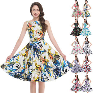 ROCK-N-ROLL-Floral-50s-60s-Vintage-Housewife-SWING-Cocktail-Party-Dance-Dresses
