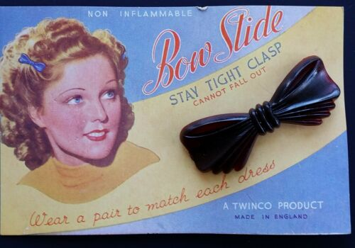 Bow Slide Barrette almost black Vintage Hair Barrettes Dark Burgundy Color