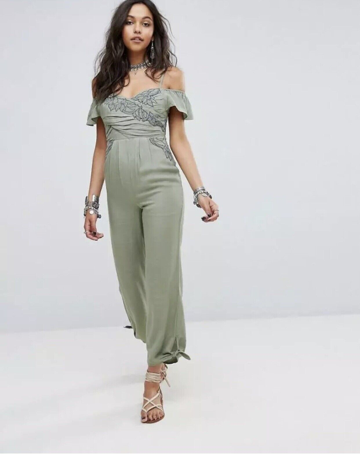 Free People Women's In the Moment Cold Shoulder Cut out Green Jumpsuit Size 0
