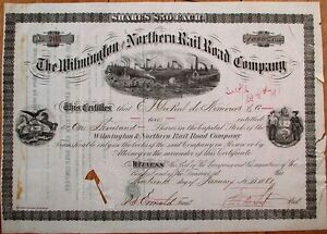 Wilmington-amp-Northern-Railroad-1881-Stock-Certificate-HENRY-A-DU-PONT-Autograph