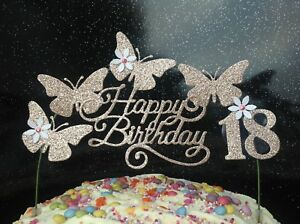 Image Is Loading ROSE GOLD SWIRLY Birthday Cake Decoration Glitter Butterfly