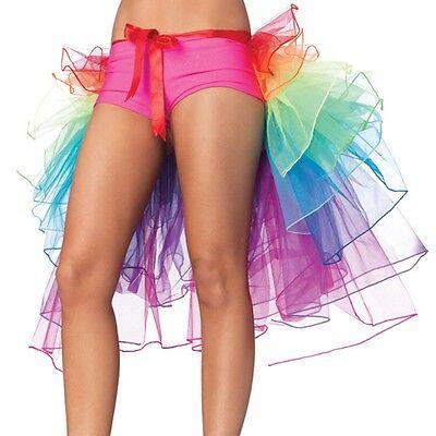 Vivid Rainbow Partly Bustle Ballet Dance Ruffle Belt Skirt Party Fancy Dress New