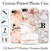 PERSONALISED ROSE GOLD MARBLE INITIALS NAME CUSTOM HARD PHONE CASE FOR IPHONE