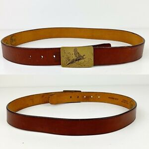 VTG-AD-JOHNSON-Brown-Leather-Belt-34-Duck-Hunting-Engraved-Brass-Buckle-Cowhide