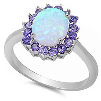 Beautiful! Australian White Opal & Amethyst .925 Sterling Silver Ring Size 4-12