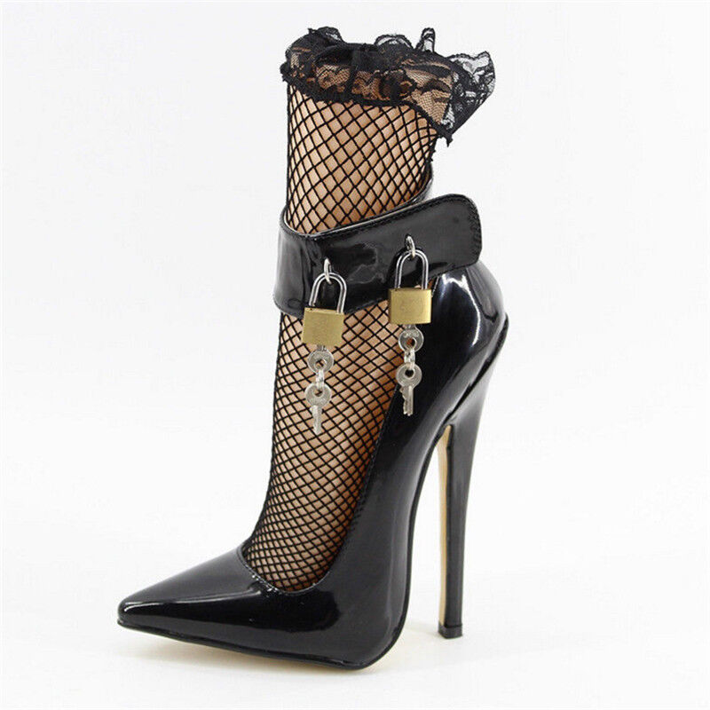 Very High Heels Sexy SM Heeled Ankle Strap Pointed Toe Lock Stiletto 7 inch