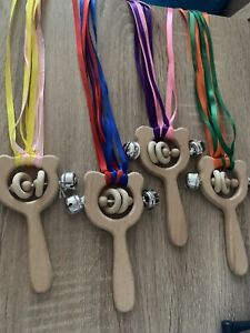 Sensory-Baby-Wooden-Bear-Teether-With-Ribbon-Teething-Rattle-Bell-Chew-Kids-Gift