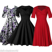 New Womens 40's 50's Vintage Audrey Style Rockabilly Retro Solid Tea Party Dress