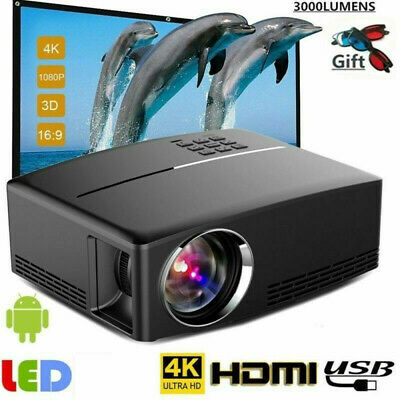 Full HD 1080P 3D 4K Mini LED Projector Home Theater Cinema for Android//IOS