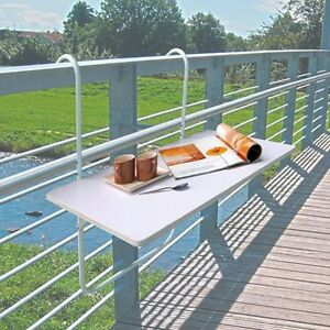 Mesa Para Balcon Plegable Terraza De Barandilla Repelente Al Agua Ebay