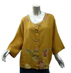 Lin-Blanc-Artsy-Linen-Top-EU-44-US-Large-Dark-Yellow-Kimono-Pockets
