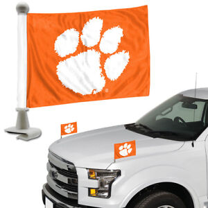 Clemson-Tigers-Set-of-2-Ambassador-Style-Car-Flags-Trunk-Hood