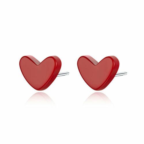 Voroco Argent Sterling 925 Neuf Clous d/'oreilles Coeur Charme pour femmes Bijoux